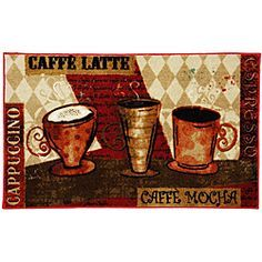 Coffee Kitchen Rugs Mohawk Home Jazzy Red Rug 1 8 X 3 9