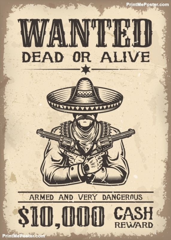 Vitage wild west wanted poster poster  poster 2cbd6dc37d0