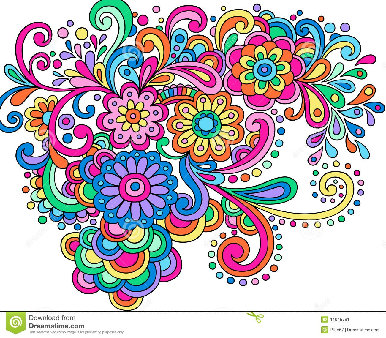 Colored Flower Doodles Doodle Henna Abstract Flowers   Zentangle ...
