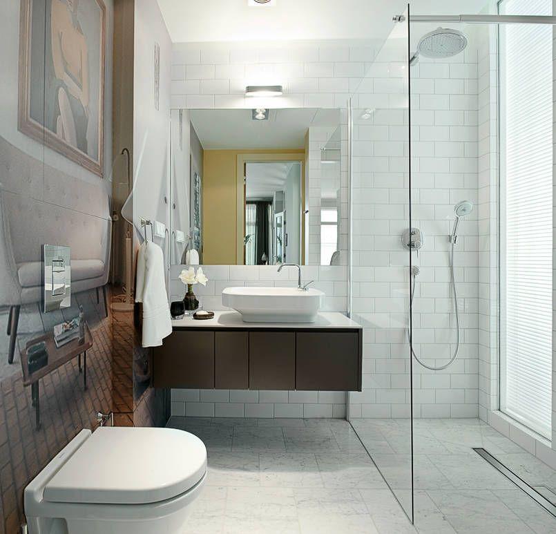 łazienka Z Fototapetą łazienkę Z Elegancką Podłogą Z Kafli