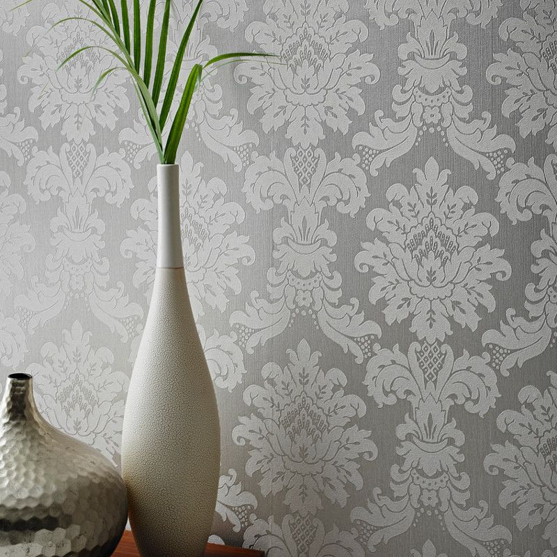 This Beautiful Arthouse Messina Damask Wallpaper In Silver A Beautiful Italian Vinyl With The Perfect Balance To Add A Touch Of Elegance To Your Home