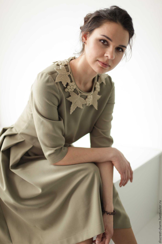 Оливковое платье с пышной юбкой, рукавом по локоть и ...