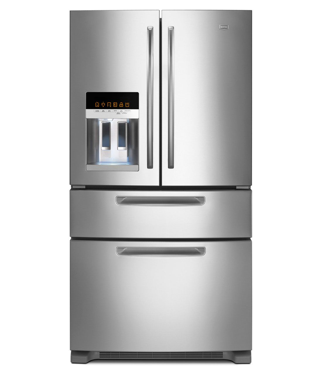 Refrigerators french doorsbottom freezer ice2o maytag maytag french door refrigerator with easy access refrigerator drawer monochromatic stainless steel rubansaba