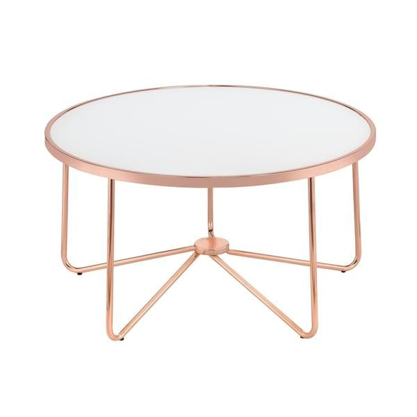 Acme Furniture Alivia Rose Gold Metal and Frosted Glass Coffee Table