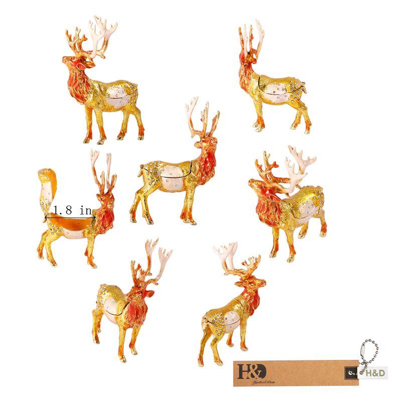 Christmas Deer Trinket Box Hinged Hand-painted Animal Figurine Collect Ring Box