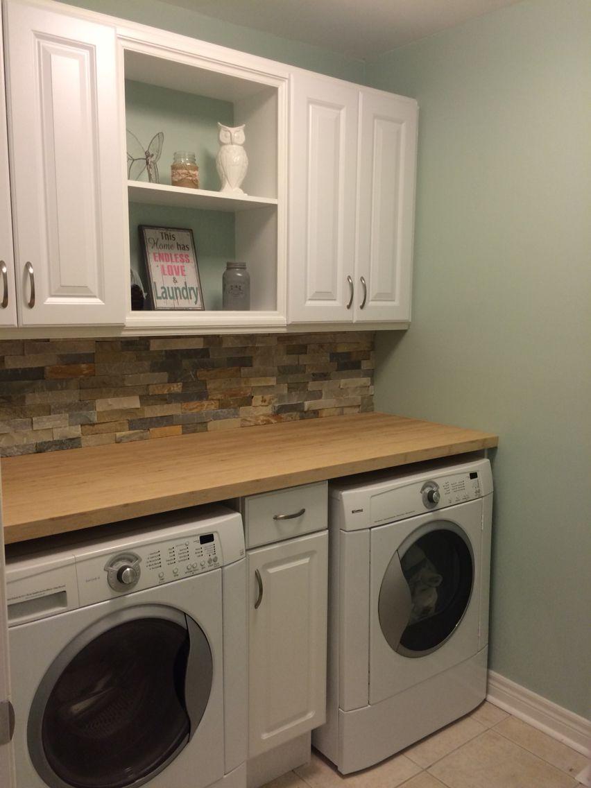 Laundry Room Reno Bamboo Countertop Stone Backsplash And
