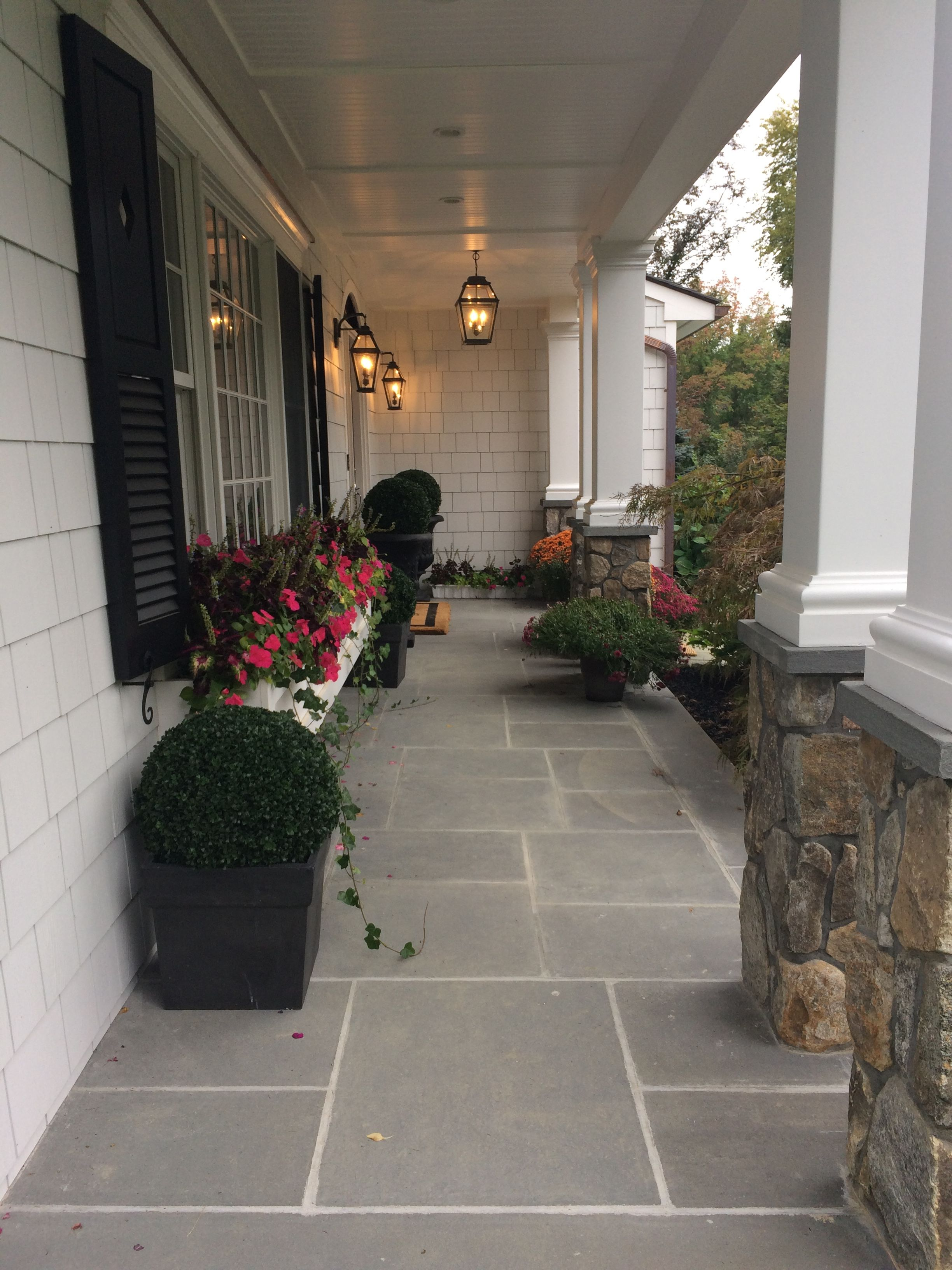 My Front Porch With Bluestone Patio, Window Boxes, Boxwood Topiaries