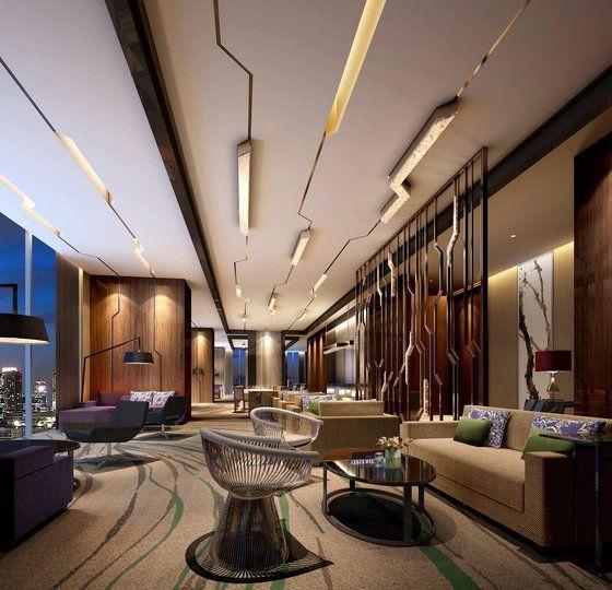 Ein Hilton Hotel In Zhongshan, China Mit Einem Interessantem Deckendesign.