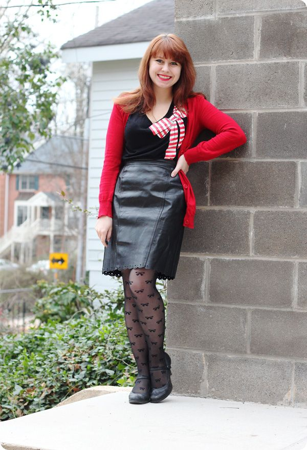 Petite Panoply: Leather Pencil Skirt, Bow Tights, & a Red Cardigan ...