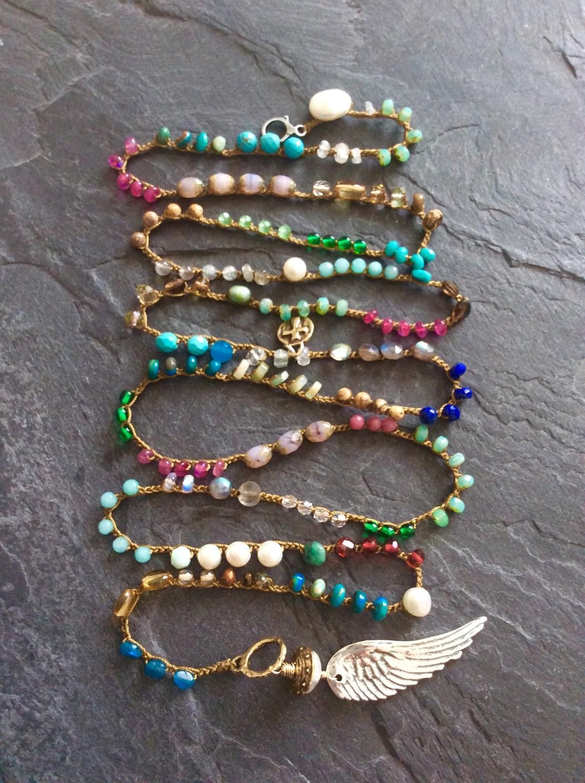 colourful boho crochet jewellery Double strand layering bohemian wing necklace Angel wing necklace