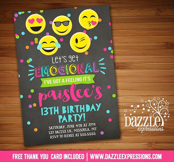 Cell Phone Emoji Sleep Over Teen Invitation tween 12th birthday – Cell Phone Birthday Invitations