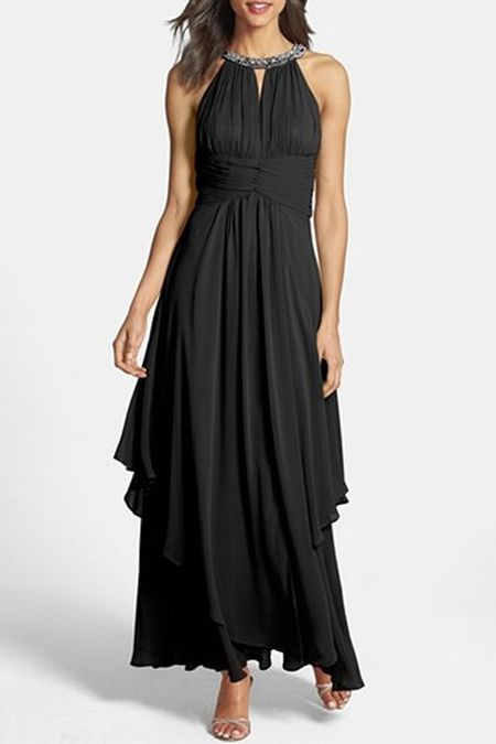 d51b435b033 Love the Slimming Design! Draped Black Solid Color Rhinestone Embellished Sleeveless  Maxi Dress  Draped