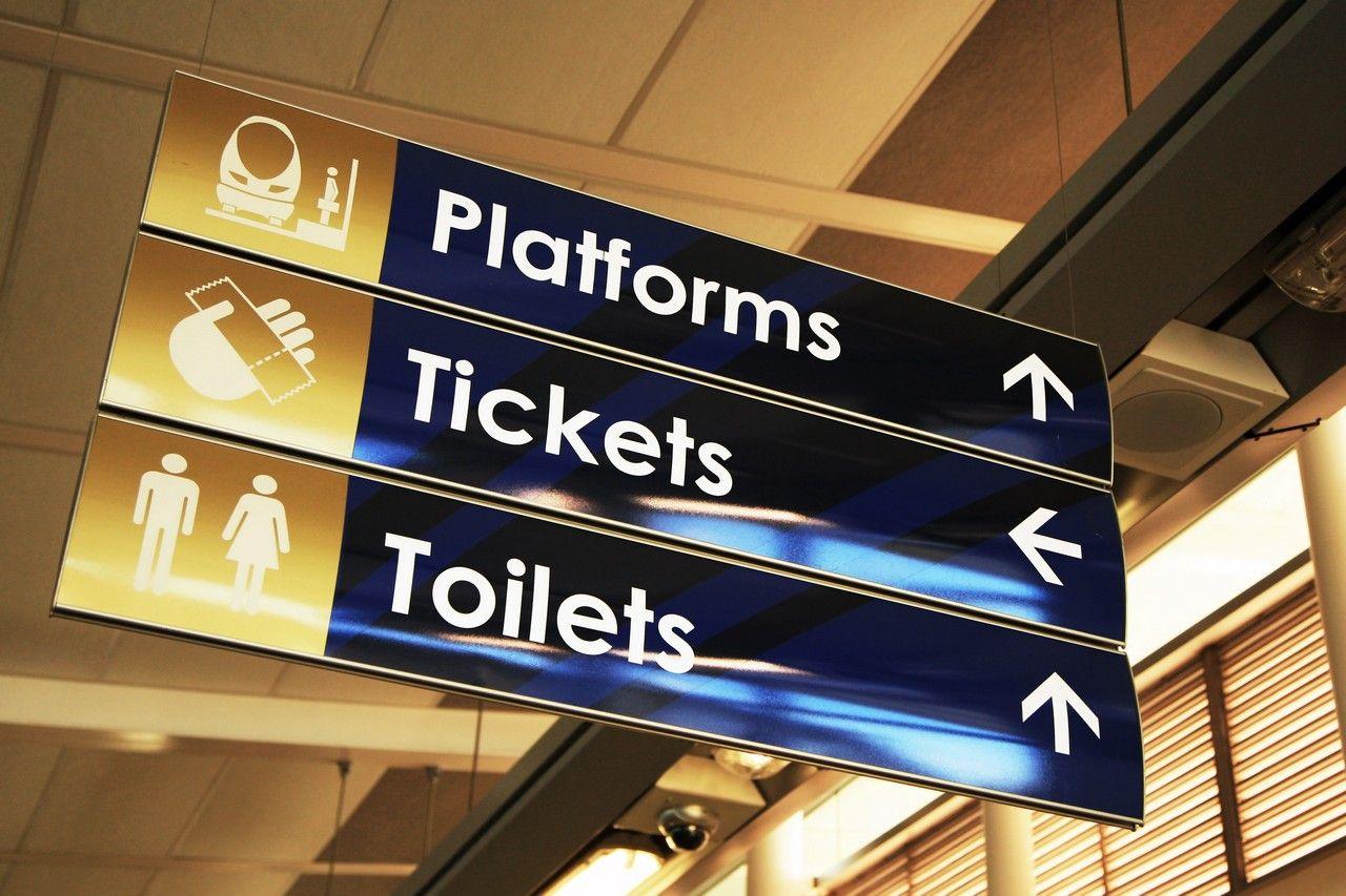 Vista System Suspended Sign in Gautrain rapid rail network