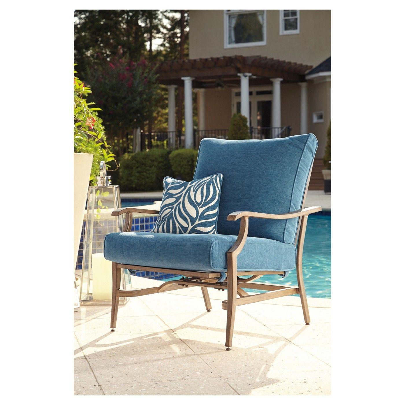 Partanna 2pk Metal Patio Motion Lounge Chair Blue/Beige