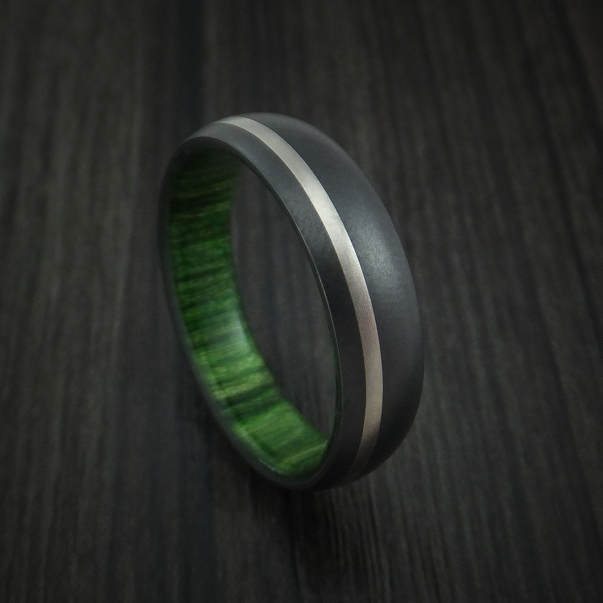 Black Zirconium Ring with Palladium Inlay and Jade Wood Sleeve