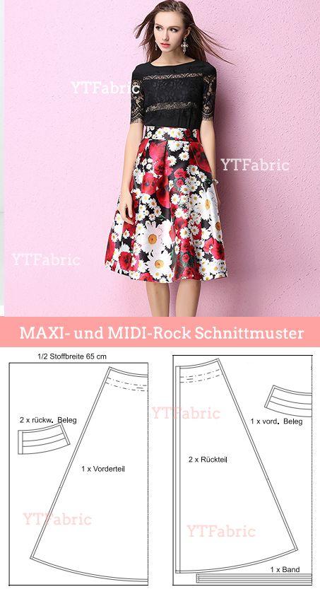 best website e7df3 b1cec MAXI- und MIDI-Rock Schnittmuster | DIY Sewing ...