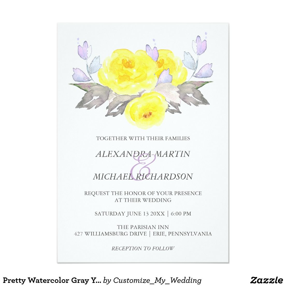 A pretty watercolor floral wedding invitation - roses are yellow ...
