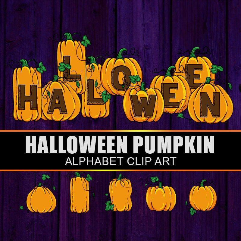 Halloween Digital Alphabet, Pumpkin Alphabet Clip Art ...