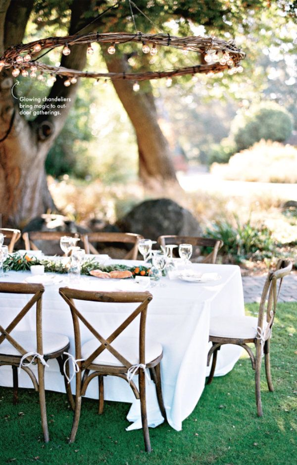 diy outdoor wedding lighting ideas%0A Make or purchase a large grapevine or twig wreath and wrap outdoor string  lights to it    Outdoor ChandelierOutdoor LightingLighting IdeasWedding  LightingDiy