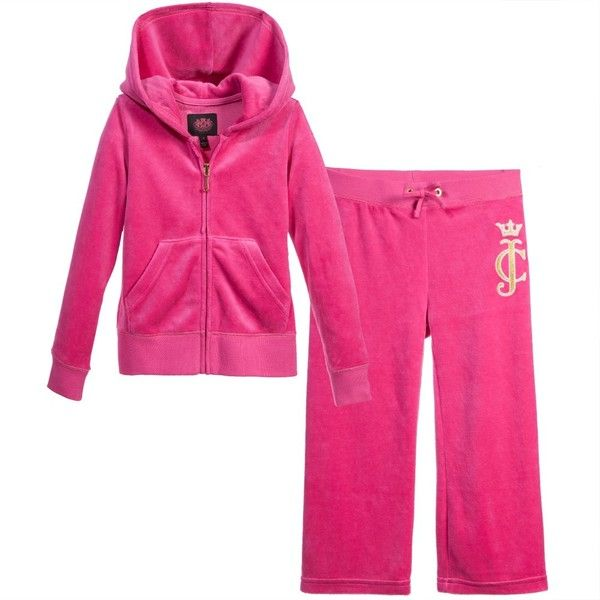 94f6f09cc064 Girls Fuschia Velour Tracksuit with Hood for Girl by Juicy Couture.  Discover more beautiful designer Tracksuits for kids online at Childrensalon .com.