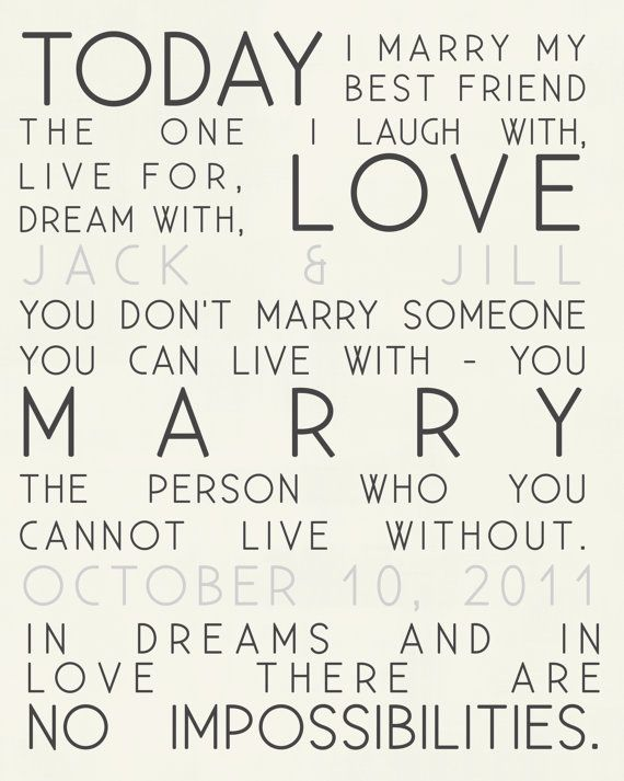 Today I marry quotes wedding print and by