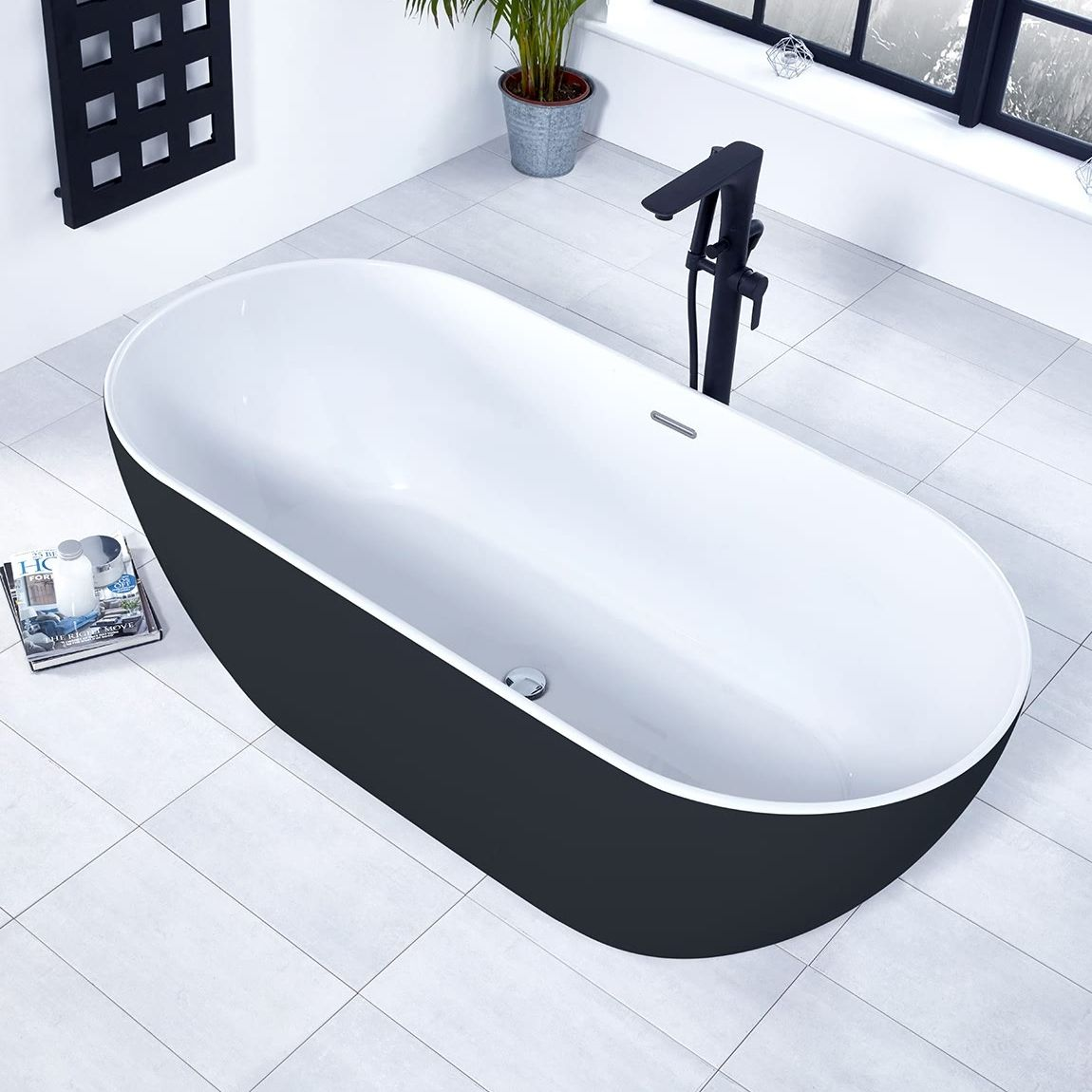 Verona Graphite Summit Freestanding Double Ended Bath 1680mm X