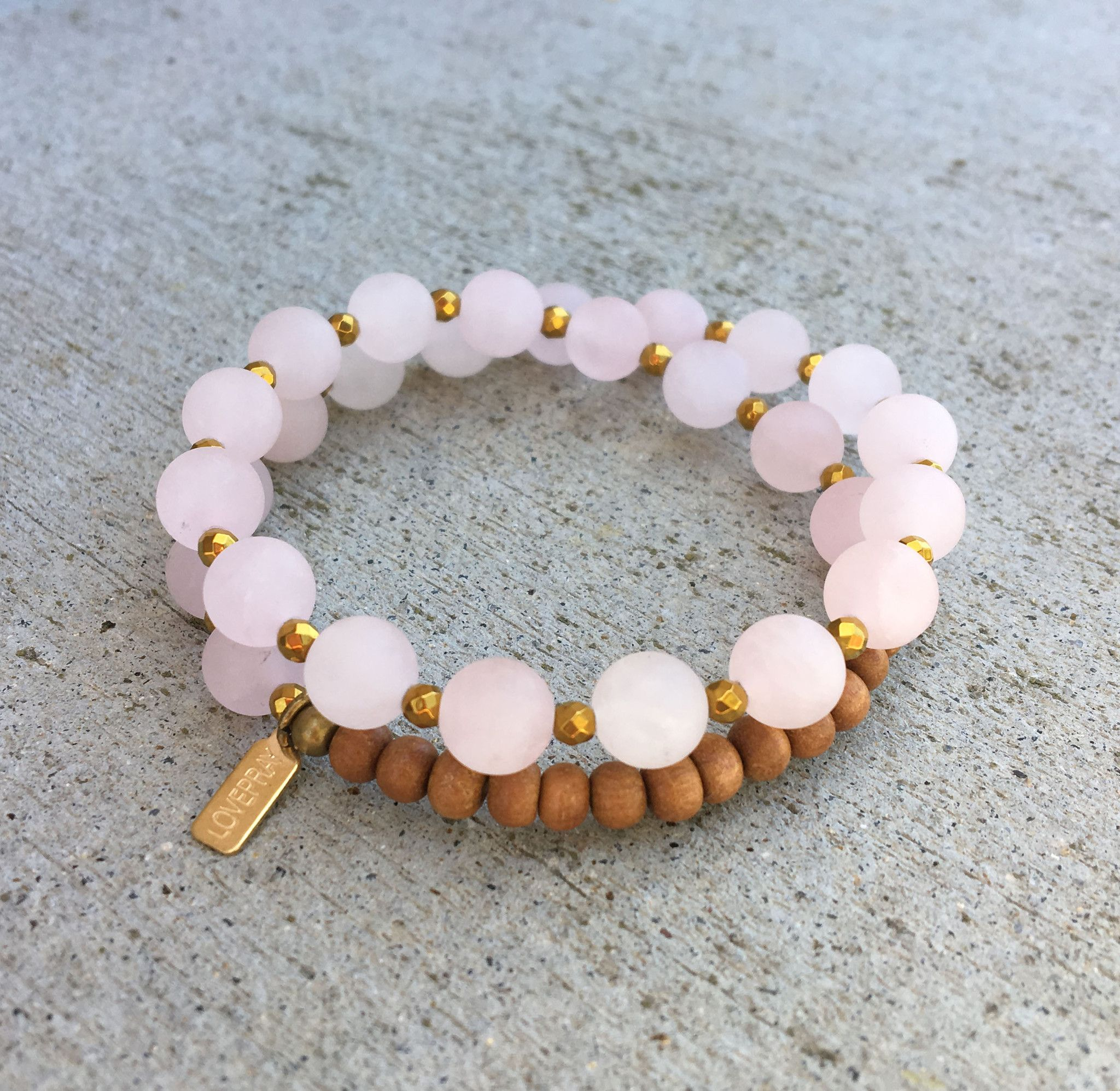 Matte Rose Quartz And Sandalwood Love Healing 27 Bead Wrist Mala Wrap