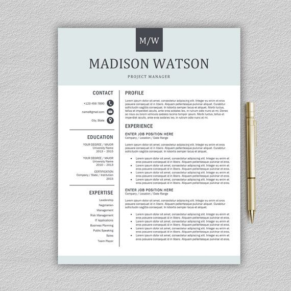 Professional Resume Template \/ CV Template for Word + Cover Letter - notepad template for word