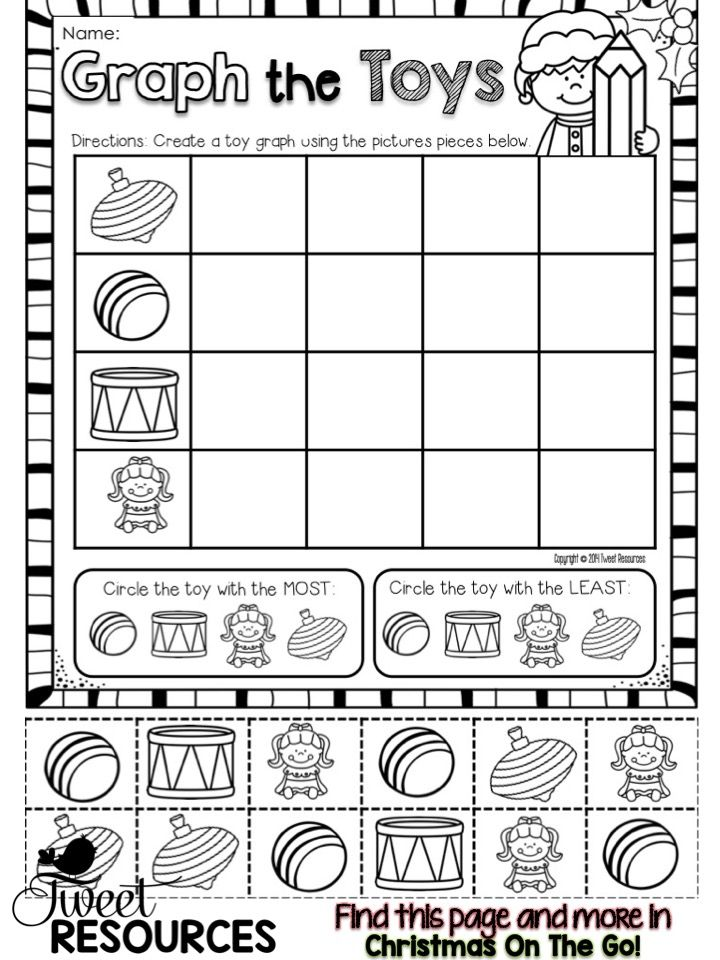 Christmas Activities For Kindergarten Math And Literacy No Prep Printables Christmas Math Worksheets Holiday Math Worksheets Kindergarten Math Christmas graphing worksheets