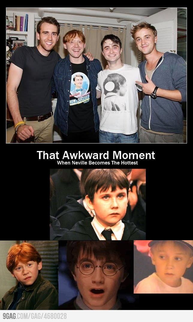 That Awkward Moment When Neville Becomes The Hottest Harry Potter Jokes Harry Potter Puns Harry Potter Cast