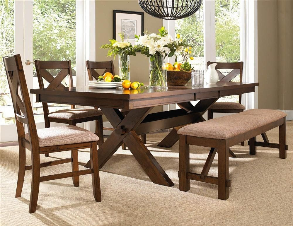 Dining Room Bench Include Seat Cushion Complete With Table And 4 Chairs