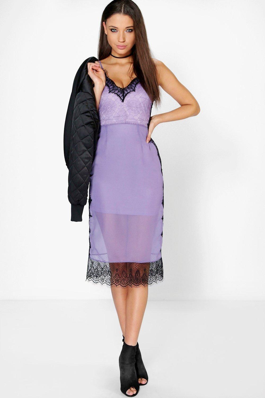 Boutique Lia Eyelash Lace + Chiffon Midi Dress | Bodycon style ...