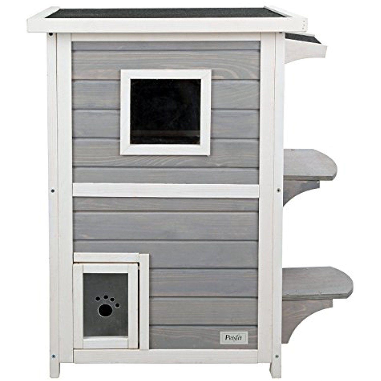 Petsfit 2Story Weatherproof Outdoor Kitty Cat House/Condo