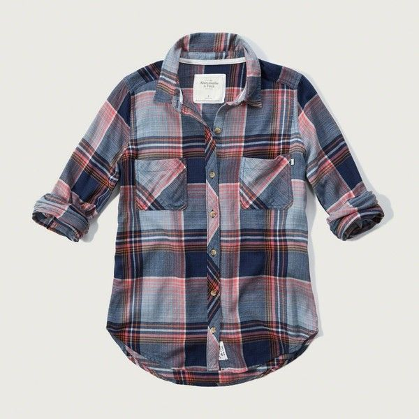 Abercrombie & Fitch Plaid Flannel Shirt ($58) ❤ liked on Polyvore featuring tops, cream plaid, tartan flannel shirt, blue top, plaid flannel shirt, abercrombie & fitch and plaid top