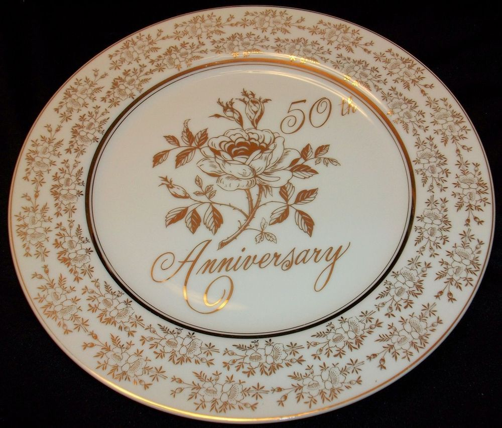 50th WEDDING ANNIVERSARY PLATE NORCREST FINE CHINA GOLDEN ANNIVERSARY AB-150 & 50th WEDDING ANNIVERSARY PLATE NORCREST FINE CHINA GOLDEN ...