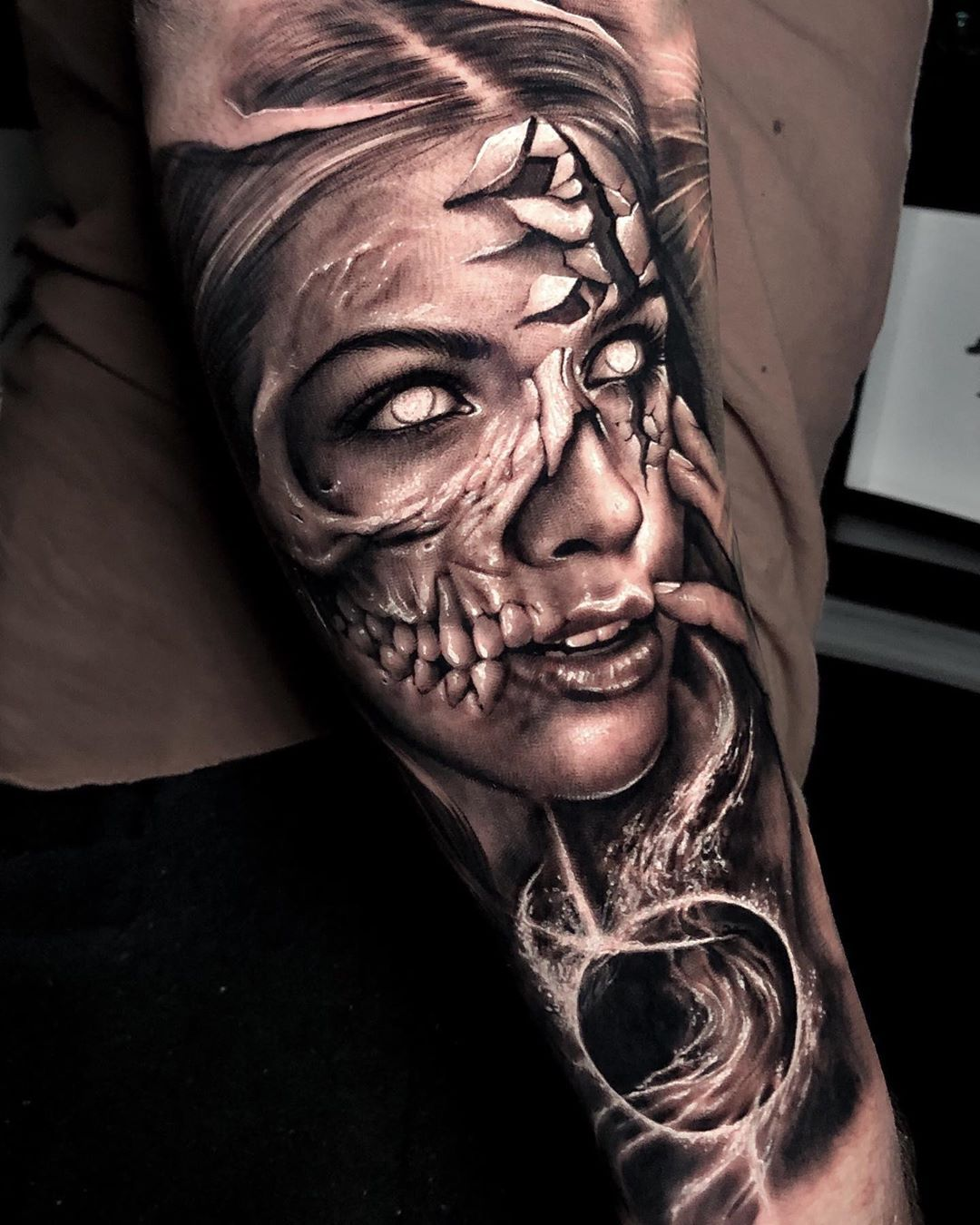 Image may contain one or more people Portrait tattoo sleeve