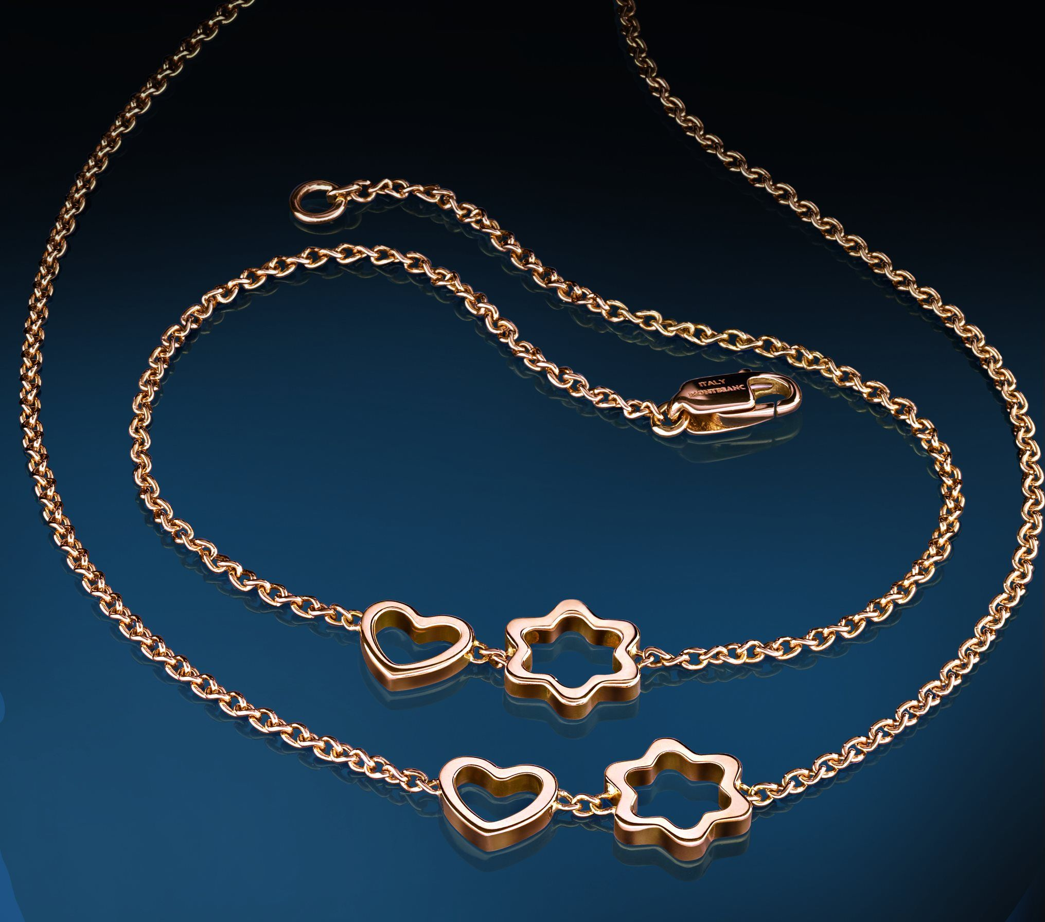 Montblanc 4810 rose gold bracelet and its matching necklace