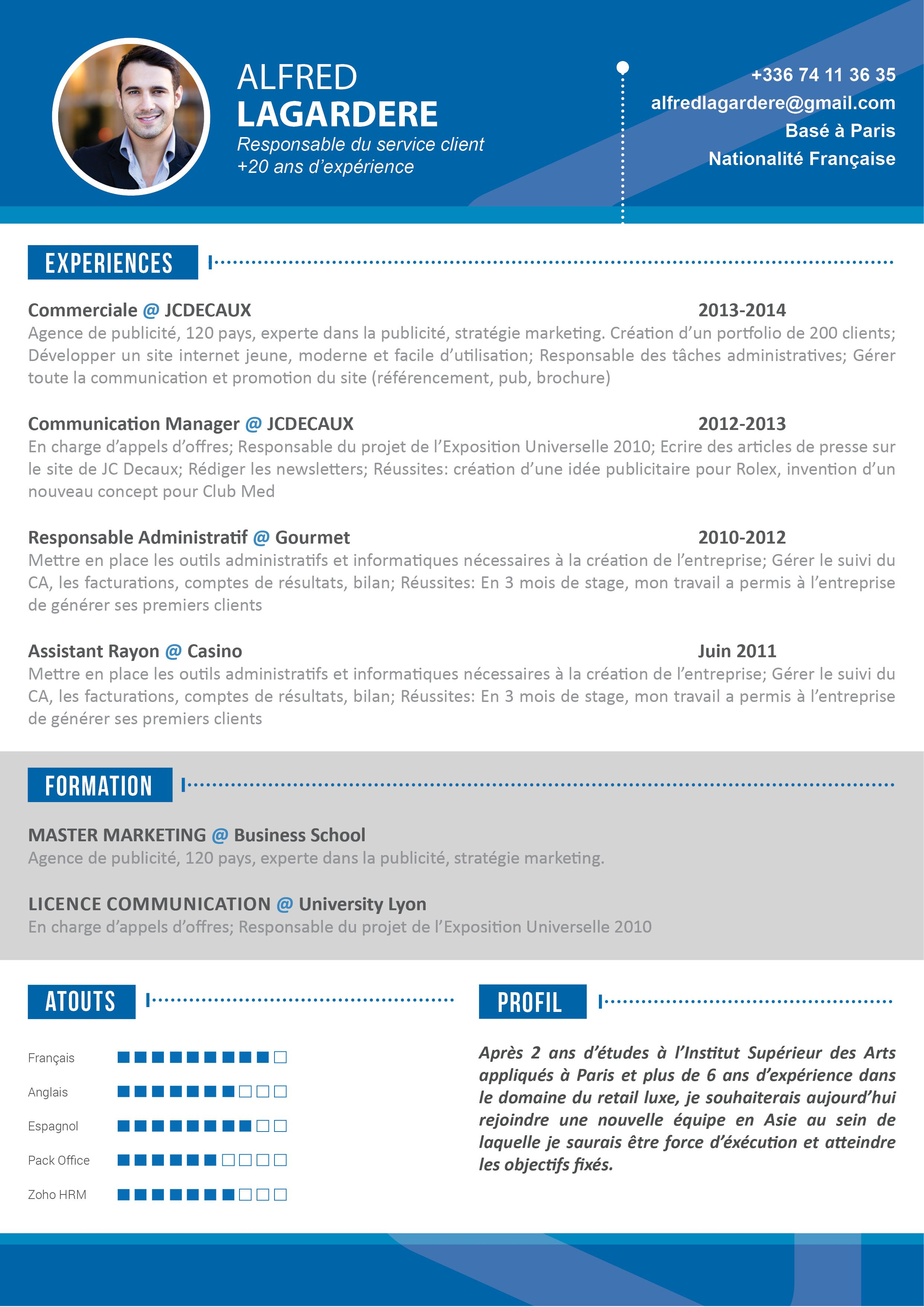 cv marketing communication english