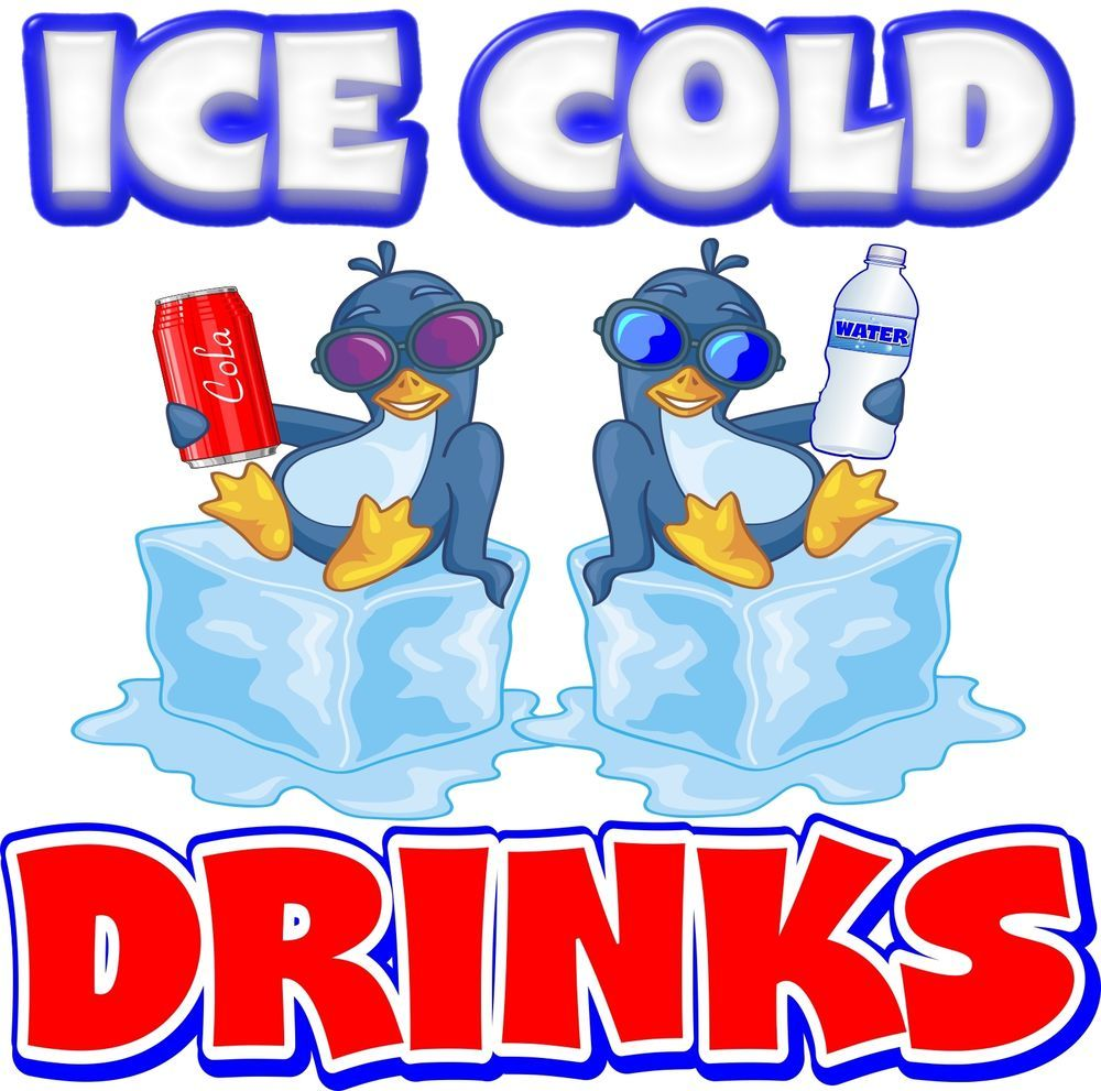"Ice Cold Drinks 14/"" Decal Water Soda Pop Can Concession Food Truck Vinyl Sticker"