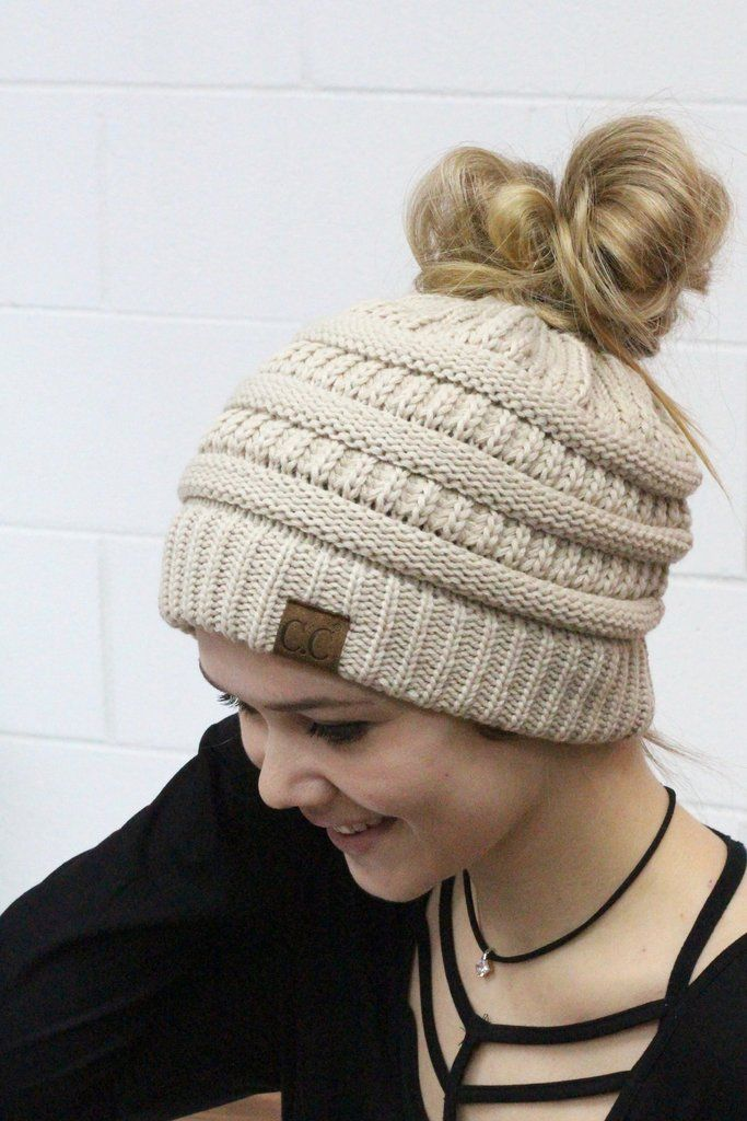 Original CC with messy bun hole in the top. Beige. CC Beanie exclusive. 889f477de82