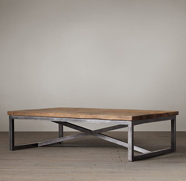 Salvaged Boatwood Coffee Table Love The Reclaimed Wood And Industrial Legs