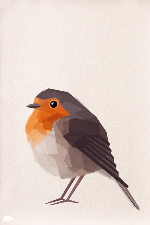 Robin, Geometric, Minimal, Bird print, Original ...