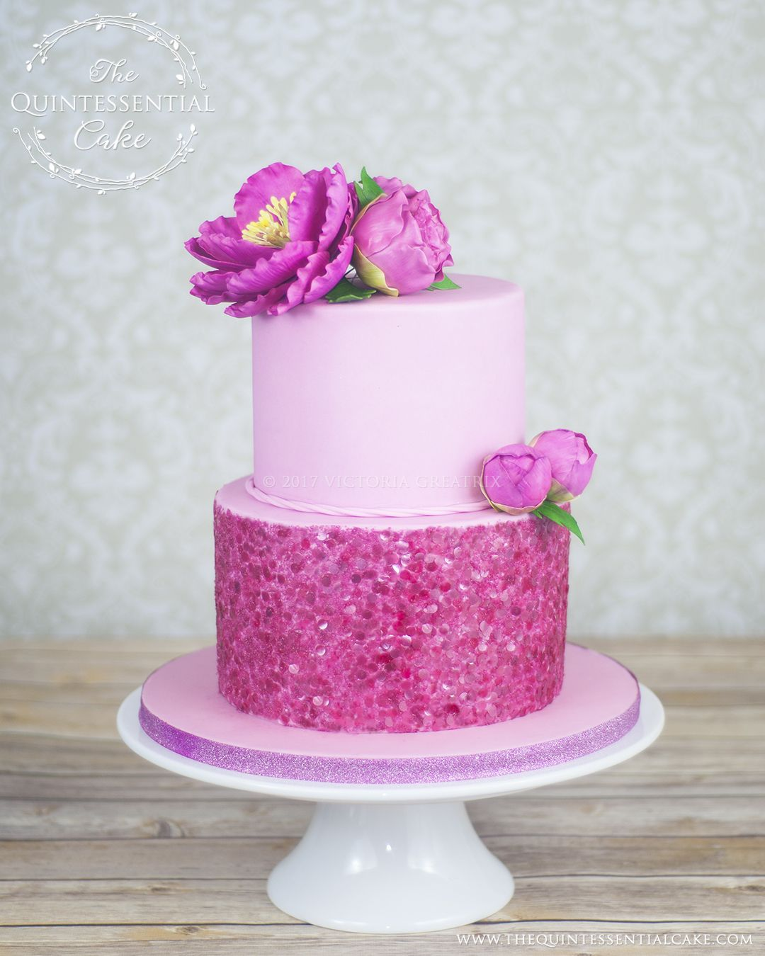 Pink birthday cake with edible sequins and sugar flowers by the pink birthday cake with edible sequins and sugar flowers by the quintessential cake in chicago izmirmasajfo