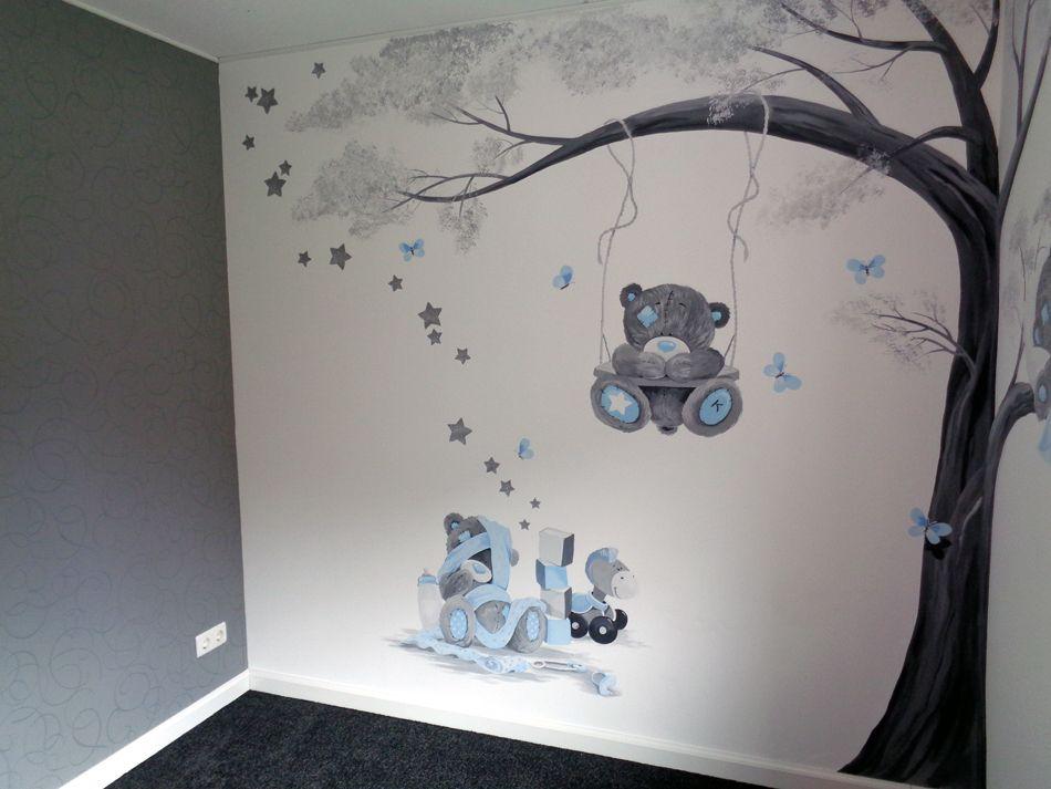 kinderkamer muurschildering meisje: beertje in taupe tinten met, Deco ideeën