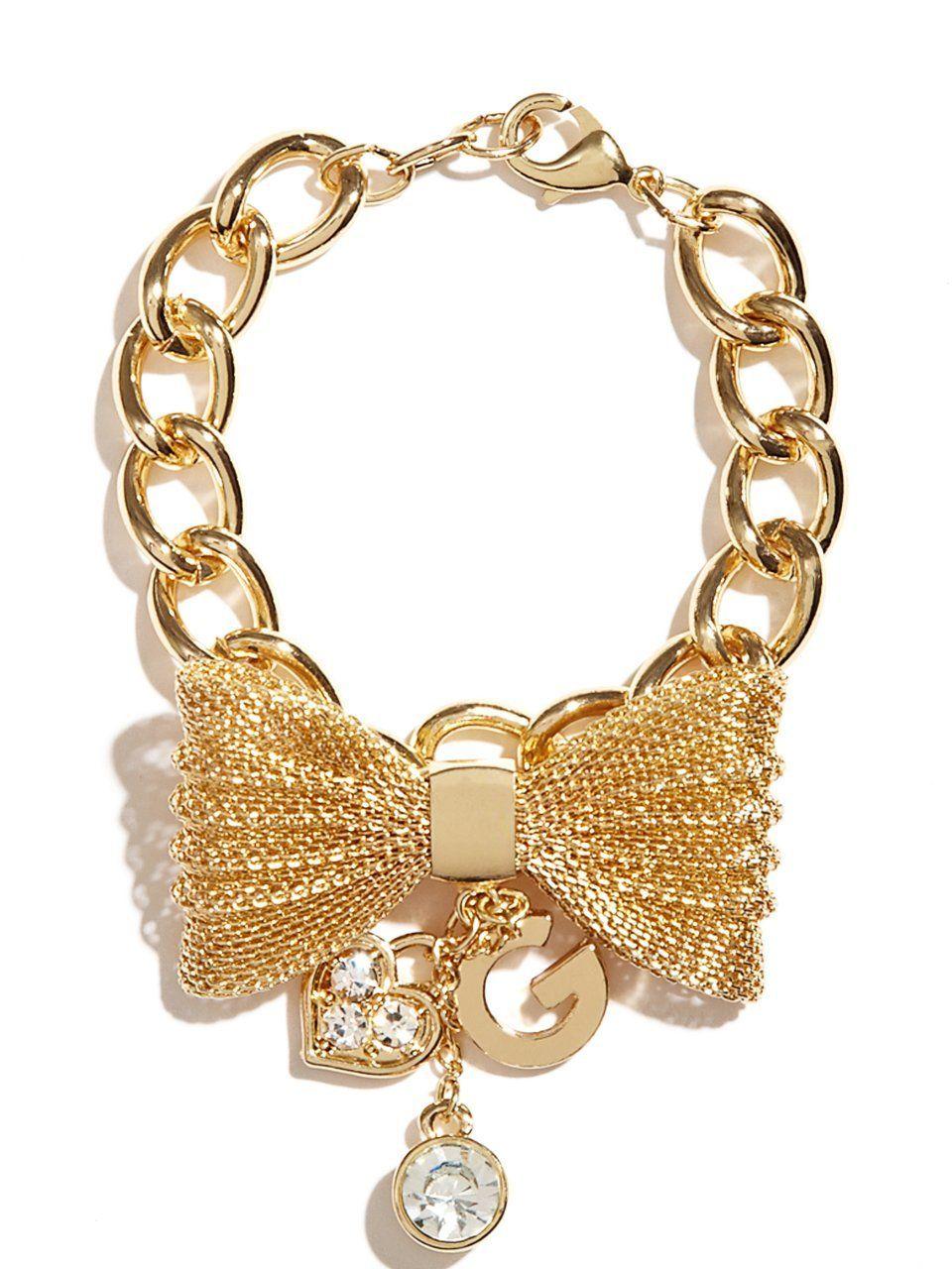 Amazon g by guess womenus goldtone mesh bow bracelet gold