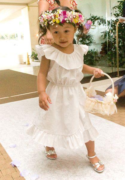Hawaiian Flower Girl Princess Wedding Dress