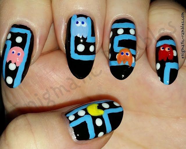 Pac Man Pacman Geek Nails Gamer Nail Art Pinterest Pac Man