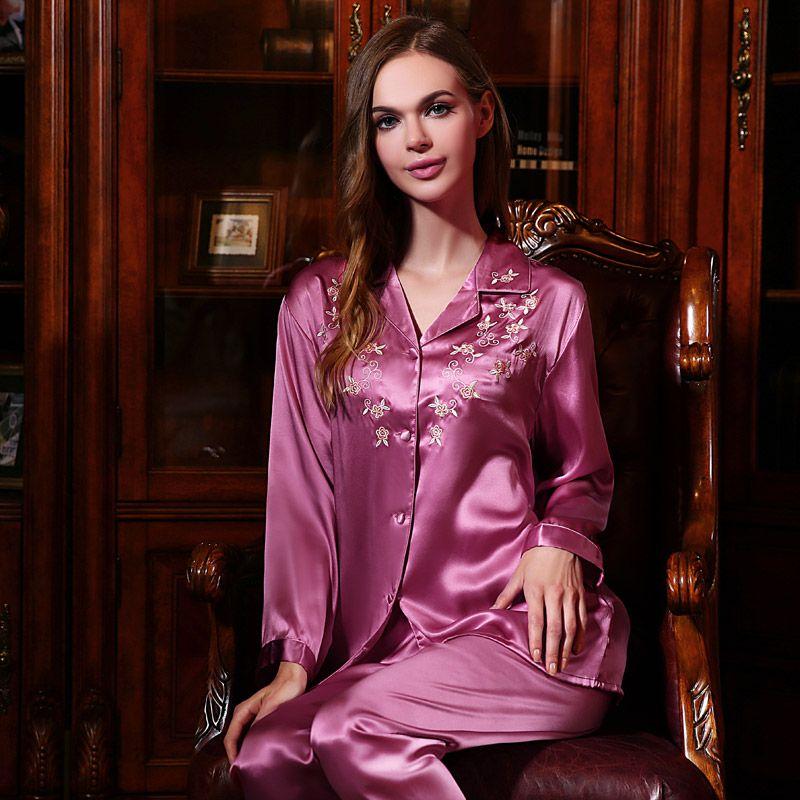 Women\'s Silk Nightgown & Robe Set 2 PCs #S841 | Silk nightgown, Silk ...