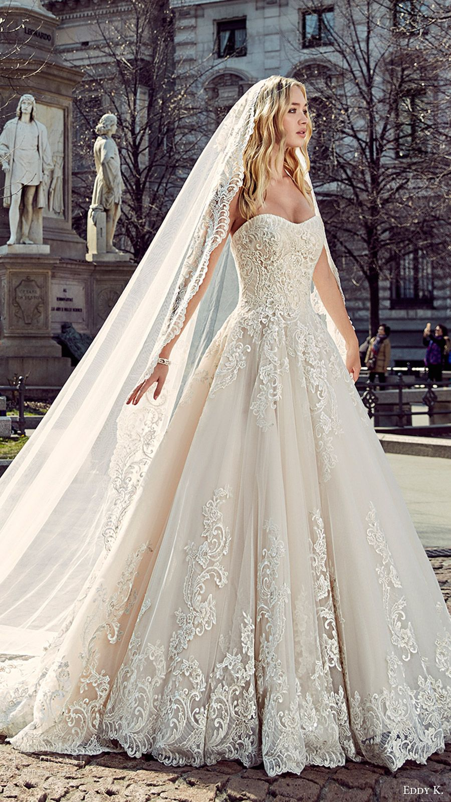 eddy k milano bridal 2017 sleeveless sweetheart lace ball gown