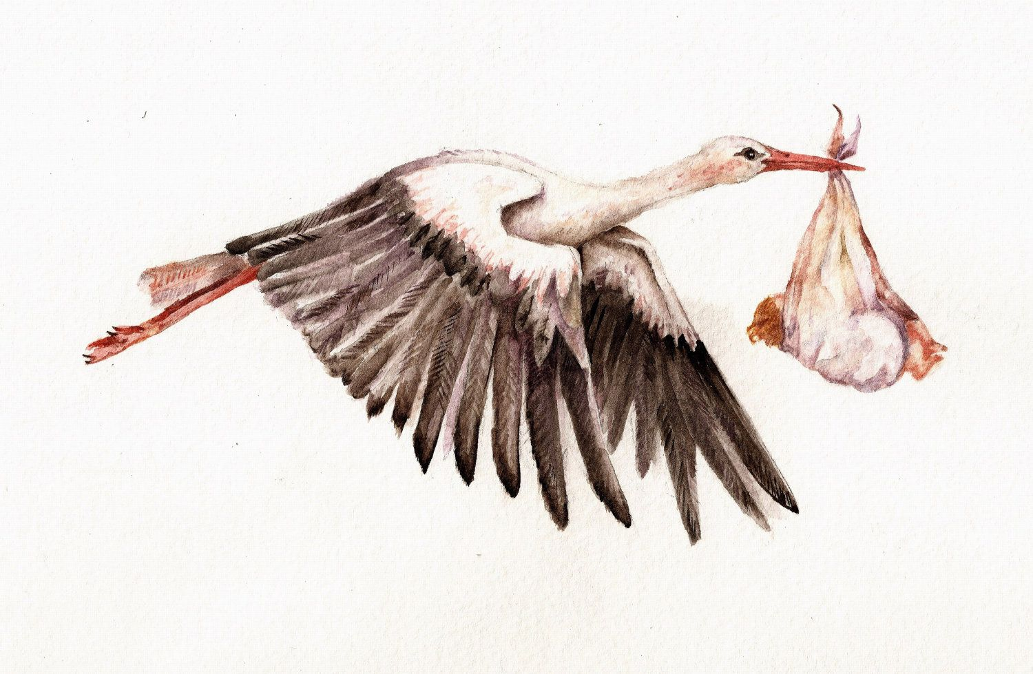 Baby on Bird  Art Print of watercolor painting 8x10 of by Goosi, $15.00